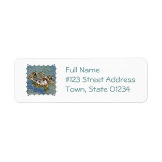 Etiquetas de correo de la familia del pato etiqueta de remite