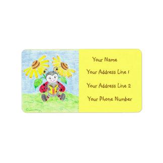 Etiquetas de correo de la mariquita de la lectura etiqueta de dirección