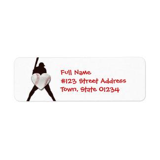 Etiquetas de correo del amante del béisbol etiquetas de remite