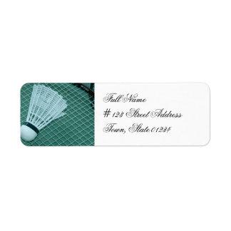 Etiquetas de correo del bádminton etiqueta de remite
