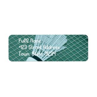 Etiquetas de correo del bádminton etiquetas de remite