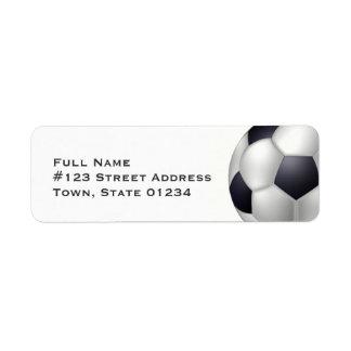 Etiquetas de correo del balón de fútbol etiquetas de remite