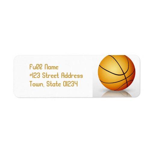 Etiquetas de correo del baloncesto del juego etiquetas de remite