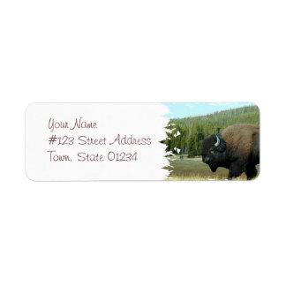 Etiquetas de correo del bisonte etiqueta de remite