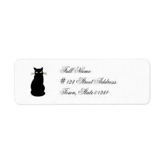 Etiquetas de correo del gato negro etiqueta de remitente