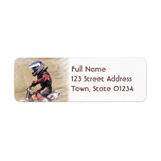 Etiquetas de correo del motocrós etiquetas de remite