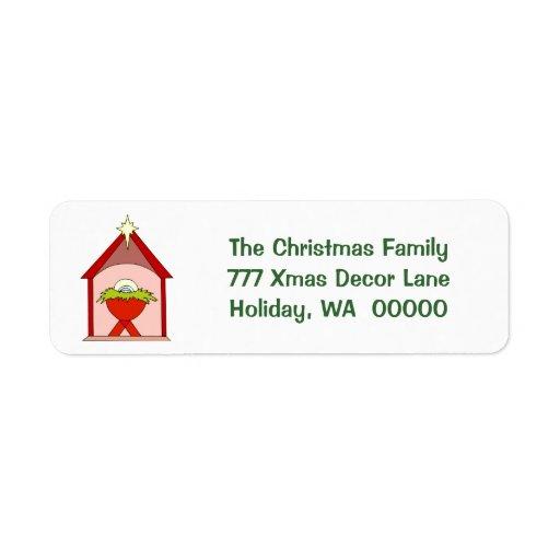 Etiquetas de correo del navidad del pesebre de etiquetas de remite