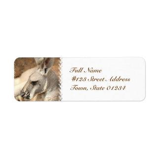 Etiquetas de correo del perfil del canguro etiquetas de remite