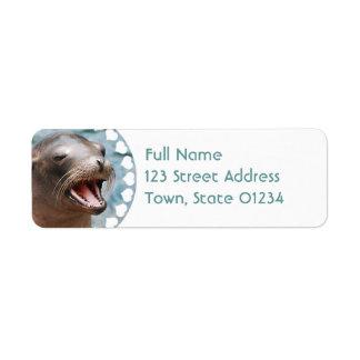 Etiquetas de correo del remite del león marino de  etiquetas de remite
