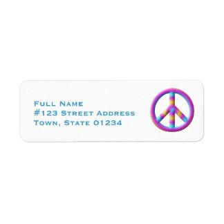 Etiquetas de correo del símbolo de paz etiqueta de remite