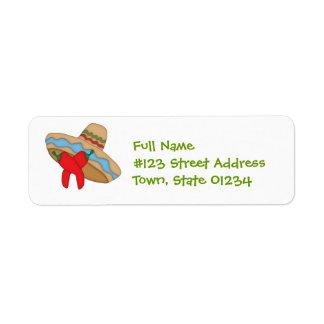 Etiquetas de correo del sombrero y de las etiqueta de remite