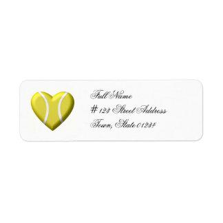 Etiquetas de correo del tenis del amor etiqueta de remite