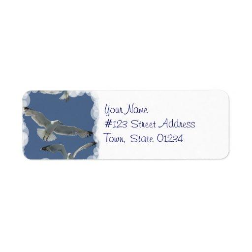 Etiquetas de correo del vuelo de la gaviota etiqueta de remite