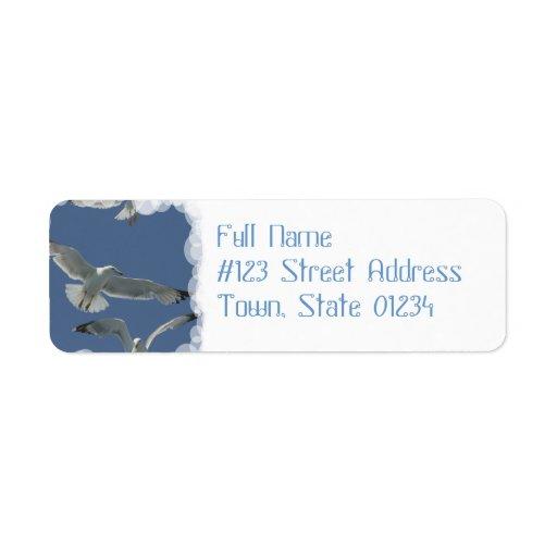 Etiquetas de correo del vuelo de la gaviota etiquetas de remite