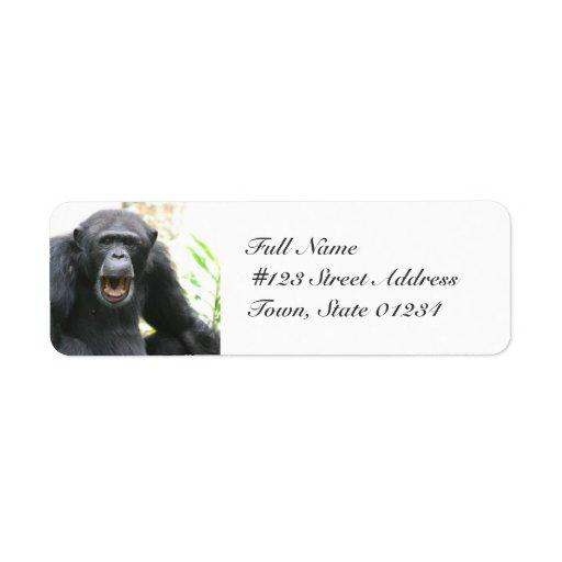 Etiquetas de correo habladoras del chimpancé etiquetas de remite