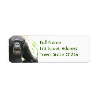 Etiquetas de correo habladoras del chimpancé etiqueta de remite