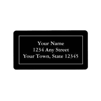 Etiquetas de correo negras y blancas con seña prei etiquetas de dirección