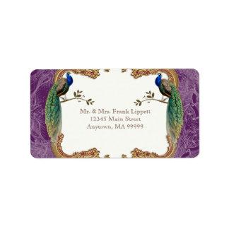 Etiquetas de correo - pavo real de oro y caligrafí etiquetas de dirección