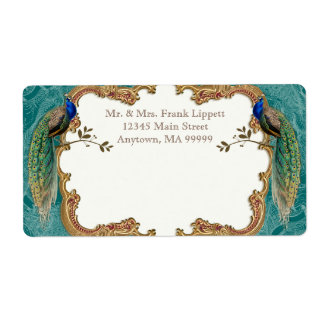 Etiquetas de correo - pavo real de oro y caligrafí etiquetas de envío