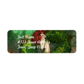 Etiquetas de correo pelirrojas de la sirena etiqueta de remite