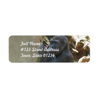 Etiquetas de correo pensativas del gorila etiqueta de remite