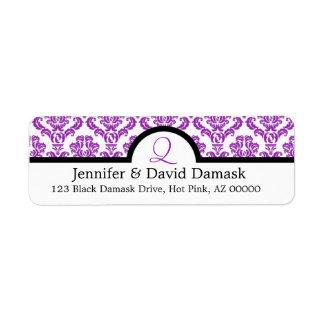 Etiquetas de correo púrpuras del boda del monogram etiquetas de remite