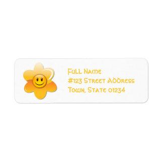Etiquetas de correo sonrientes de la flor etiqueta de remite