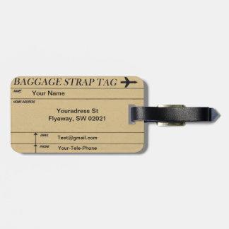 Etiquetas de costura del equipaje del modelo del v etiquetas bolsa