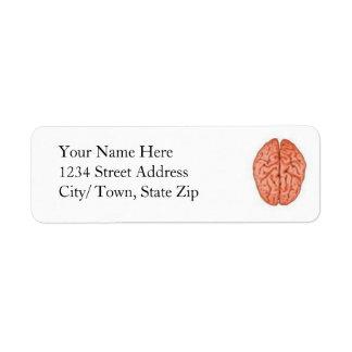 Etiquetas de devolución del cerebro etiqueta de remitente