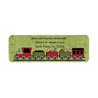 Etiquetas de devolución del tren del navidad etiqueta de remitente