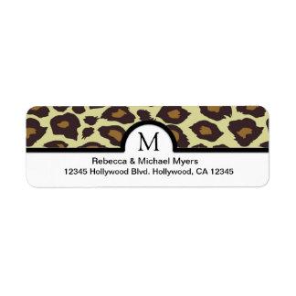 Etiquetas de devolución elegantes del leopardo con etiqueta de remite