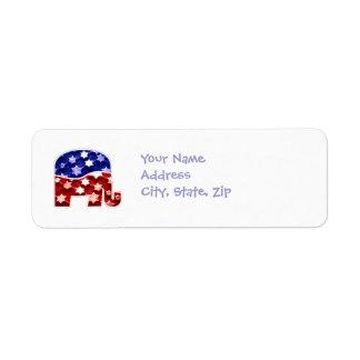 Etiquetas de devolución republicanas de la direcci etiqueta de remite