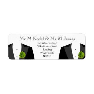 Etiquetas de devolución verdes del clavel para los etiqueta de remite