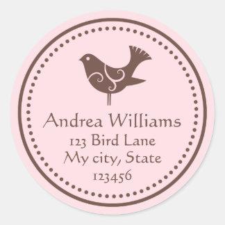 Etiquetas de dirección adaptables del pájaro etiquetas redondas