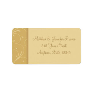 Etiquetas de dirección amarillas de oro del sobre