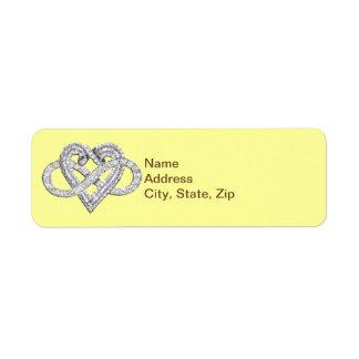 Etiquetas de dirección amarillas del corazón del