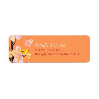 Etiquetas de dirección anaranjadas del boda del pá