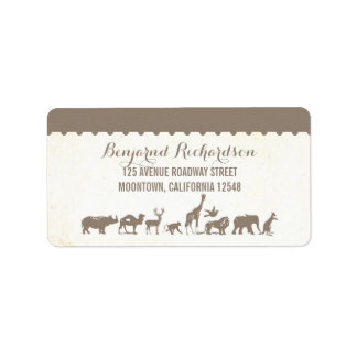 etiquetas de dirección animales del boda del