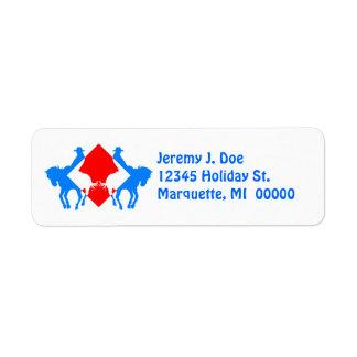 Etiquetas de dirección azules blancas rojas del