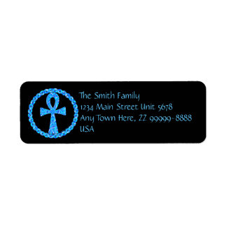 Etiquetas de dirección azules cruzadas egipcias de