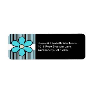 Etiquetas de dirección azules de la flor y de las