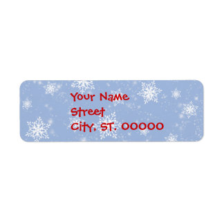 Etiquetas de dirección azules de los copos de