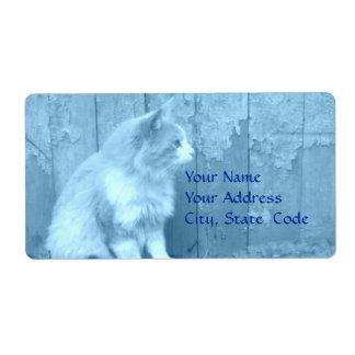 Etiquetas de dirección azules de Sáhara (gato)