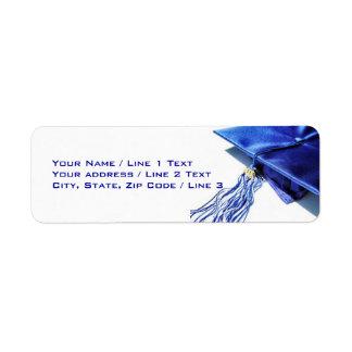 Etiquetas de dirección azules del casquillo de la