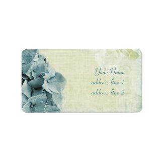 etiquetas de dirección azules del hydrangea