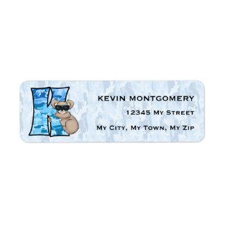 """Etiquetas de dirección azules del monograma """"K"""" de"""