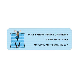 """Etiquetas de dirección azules del monograma """"M"""" de"""