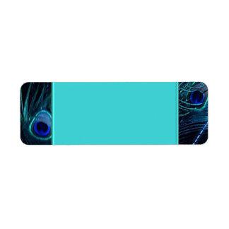 Etiquetas de dirección azules del pavo real del tr