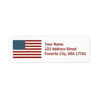 Etiquetas de dirección blancas de la bandera ameri