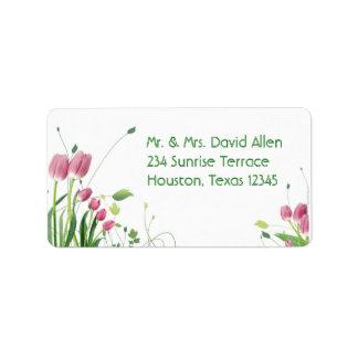 Etiquetas de dirección blancas de los tulipanes ro
